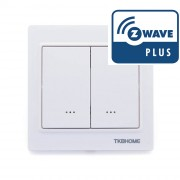 Interruptor doble de pared. Mecanismo con tecla (una sola carga) TKB Z-Wave Plus