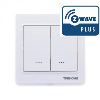 Interruptor doble regulable de pared (una sola carga) TKB Z-Wave Plus