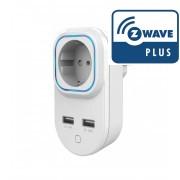 Enchufe controlado con medidas de consumos y 2 puertos USB Z-Wave Plus - Hank