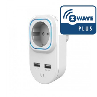 Wall Plug switch with metering and 2 USB ports Z-Wave Plus - Hank